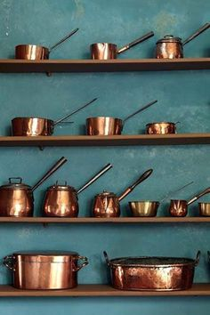 vintage copper on green wall