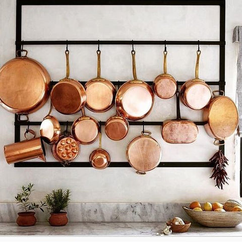 vintage copper on wall