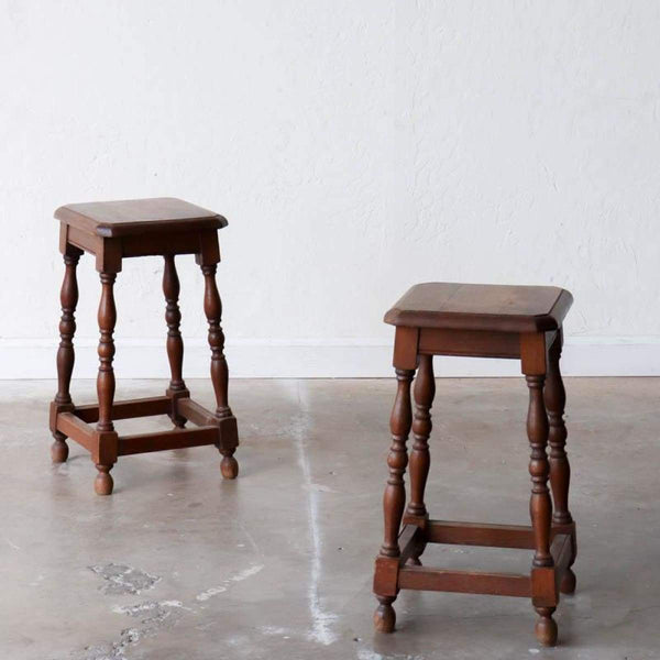 Beaded Wood Stool - elsie green