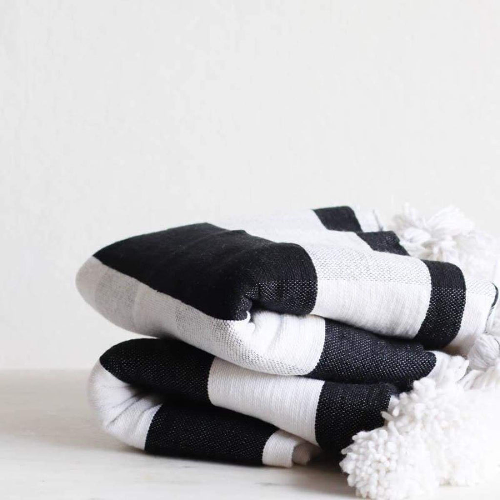 Black and White Plaid Moroccan Pom Pom Throw - elsie green