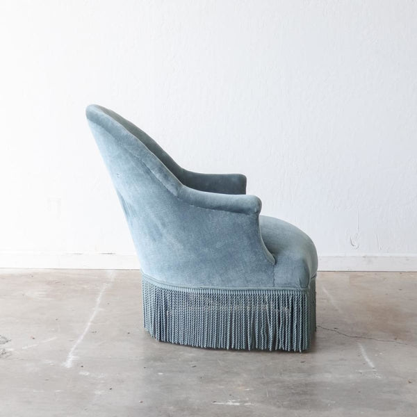 Blue Velvet Crapaud Chair - furniture