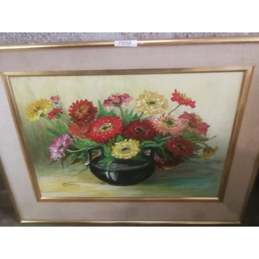 Cosmos Floral Still Life Oil Painting