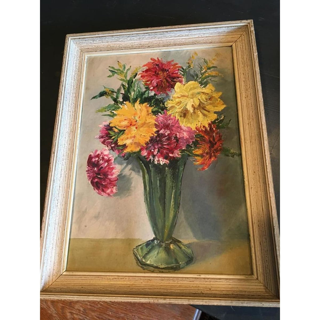 Dahlias in Green Vase Oil Painting