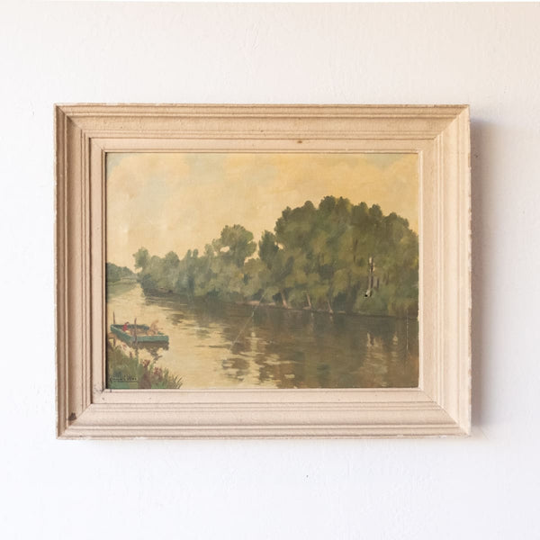 Fishing on the River in Dordogne Oil Painting - Décor