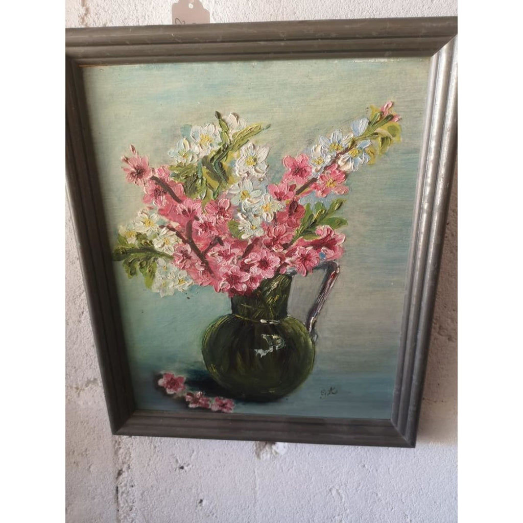 Floral Still Life in Green Pitcher
