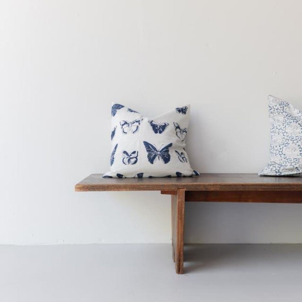 Hand Block Printed Pillow Cover - Butterflies - Textiles
