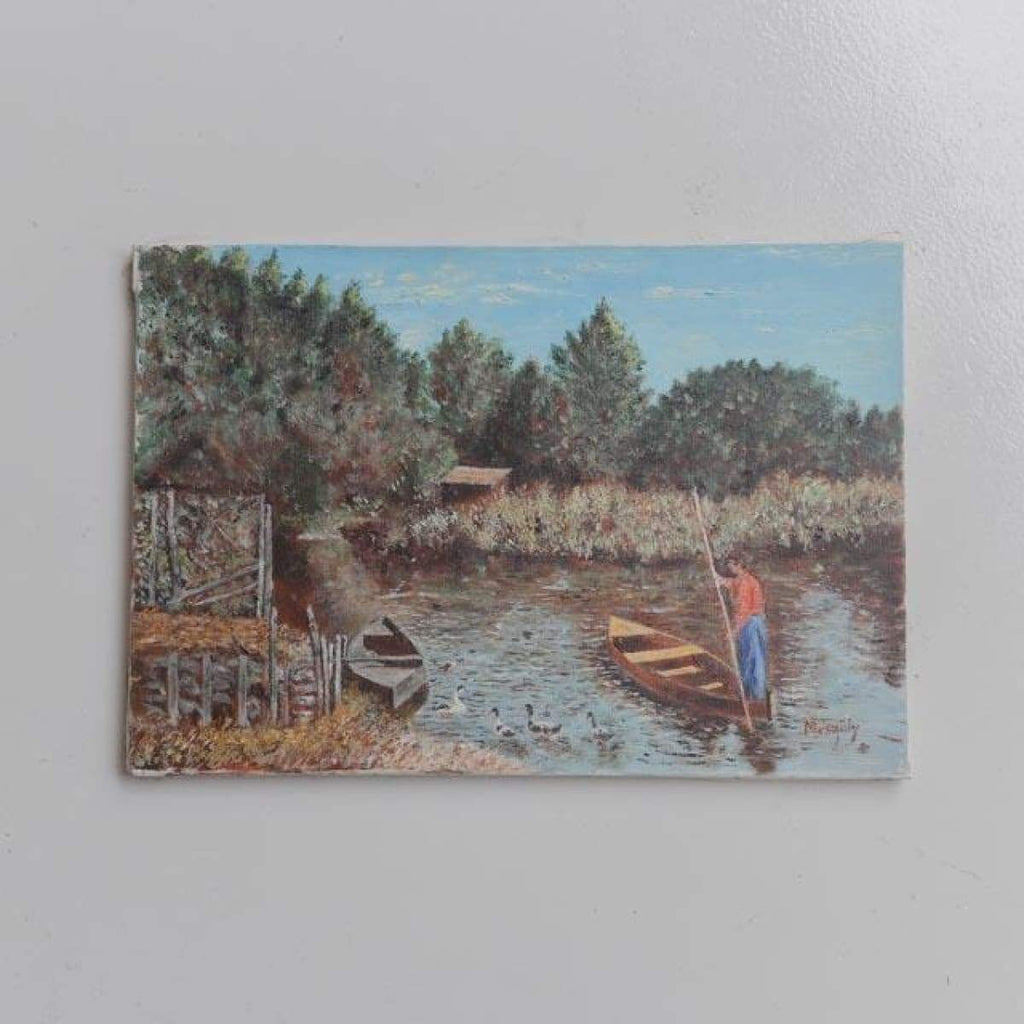 Landscape with Canoes Oil Painting - decor