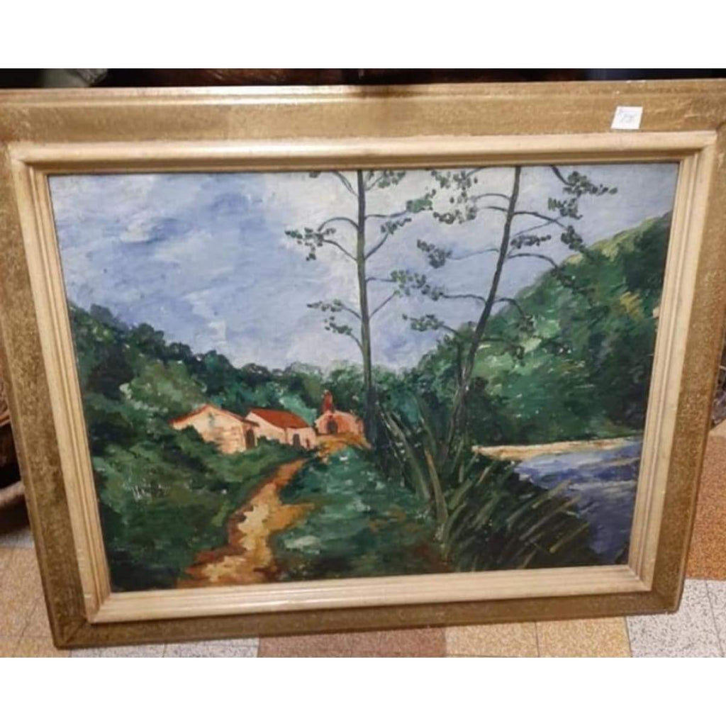 Landscape with Red Roof Oil Painting