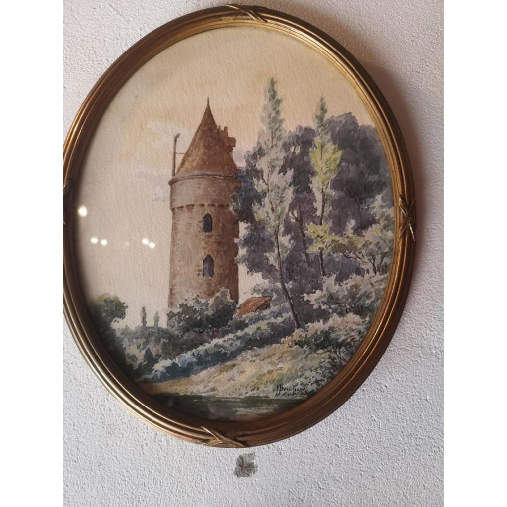 Landscape with Tower Watercolor Painting
