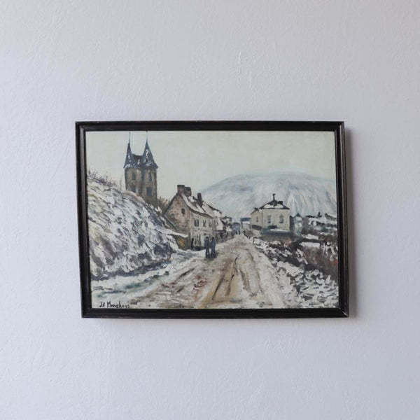 Mountainous Village Oil Painting - decor