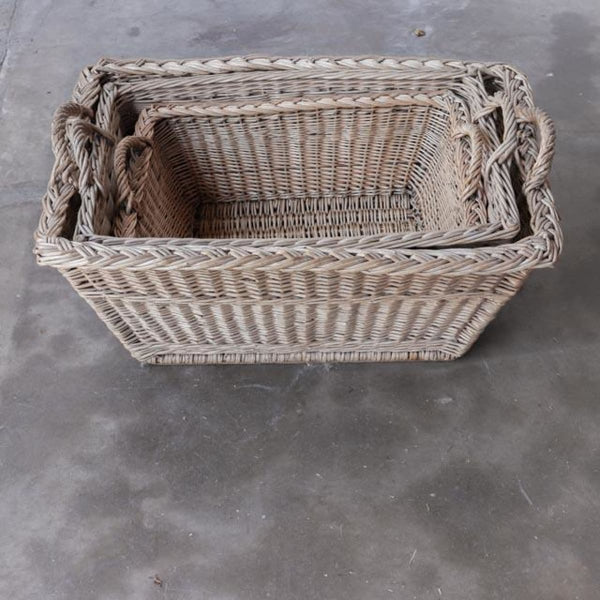 Nesting Set of French Laundry Day Baskets - decor