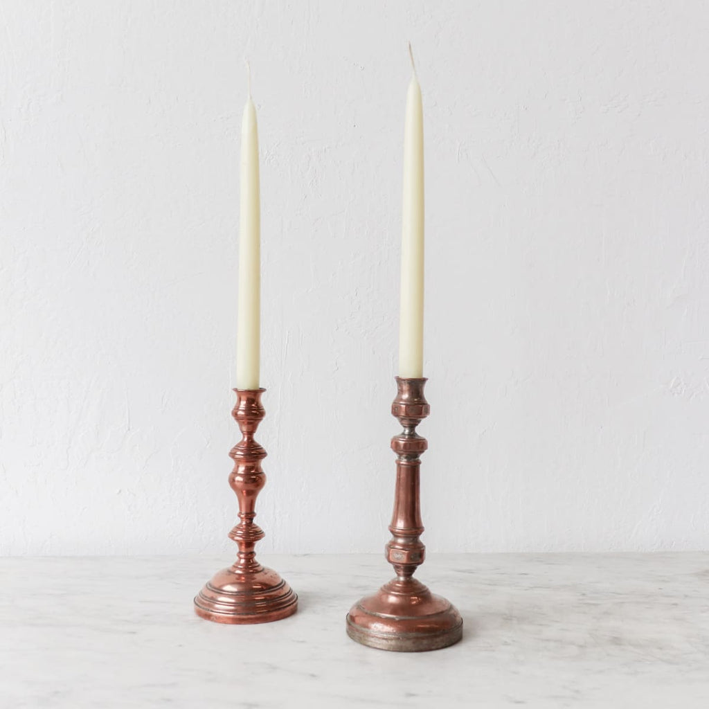 Pair of Copper Candlesticks & Beeswax Tapers - decor