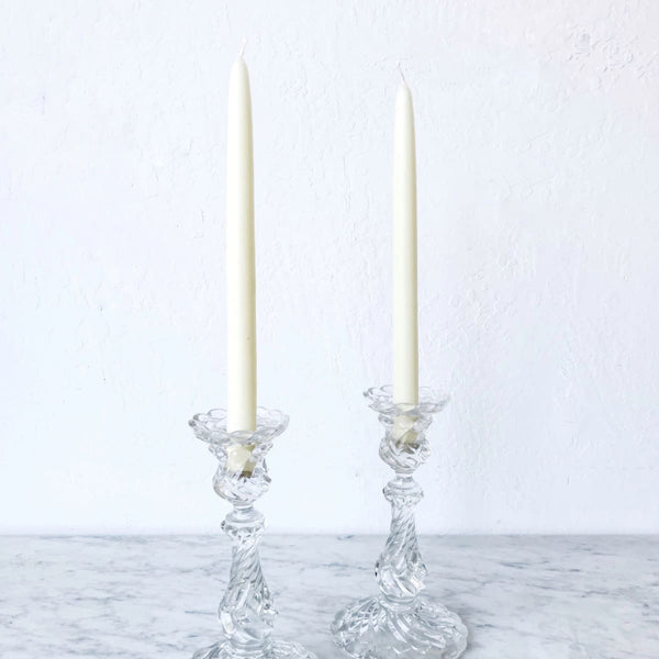 Pair of Pressed Glass Candlesticks - decor