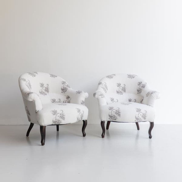 Pair of Vintage Block Print Crapaud Chairs - furniture