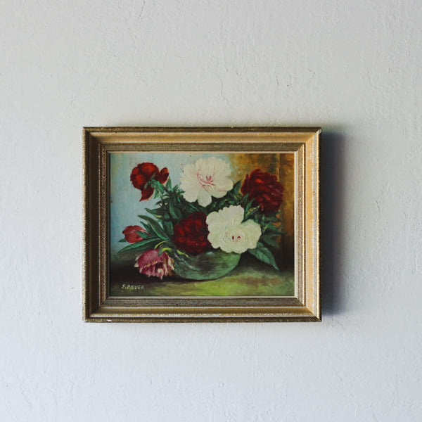 Peonies Floral Still Life Oil Painting - decor