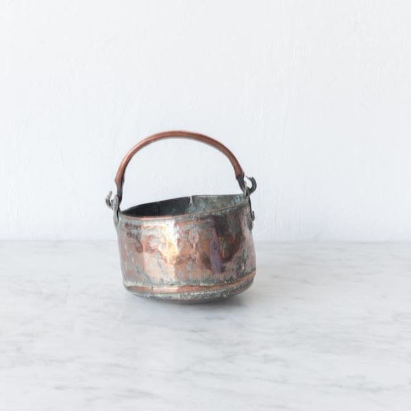 Petite Vintage Copper Bucket - decor