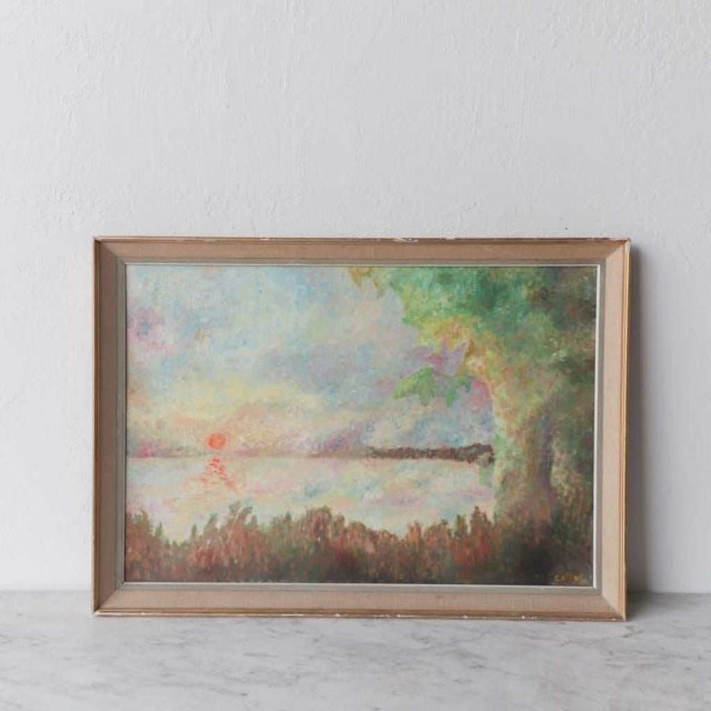 Pond at Sunset Oil Painting - decor