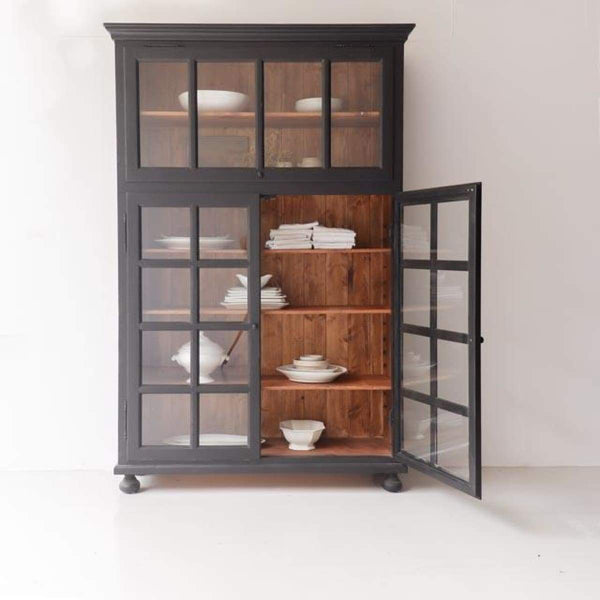 Reclaimed Wood Glass Front Cabinet - furniture