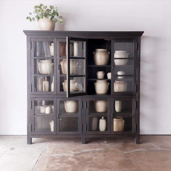Reclaimed Wood Glass Cabinet - furniture