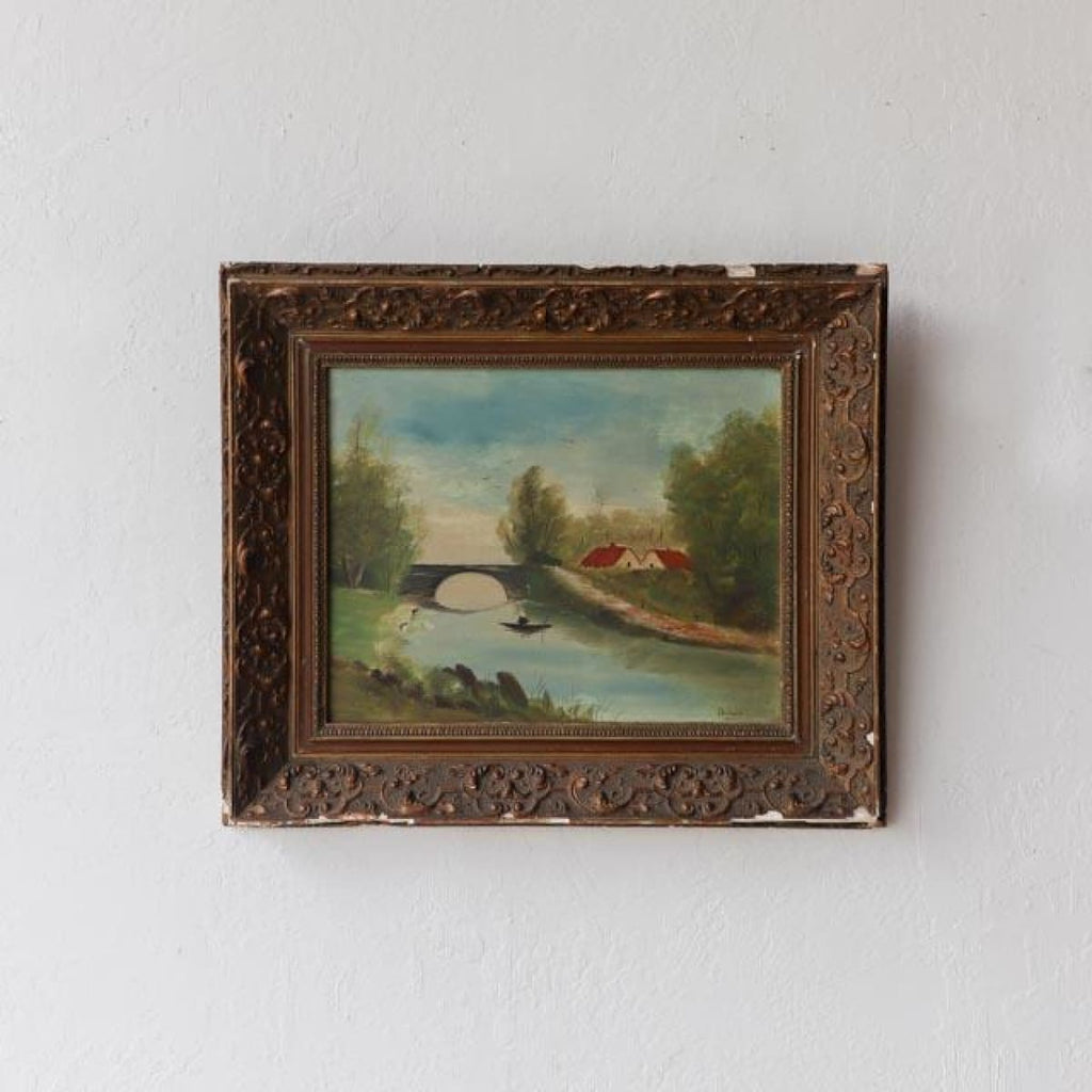 River Bridge with Lone Rowboat Oil Painting - Decor
