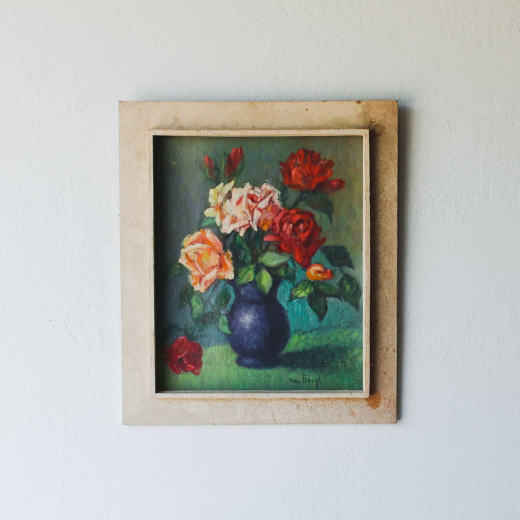 Roses in Blue Vase Oil Painting - decor