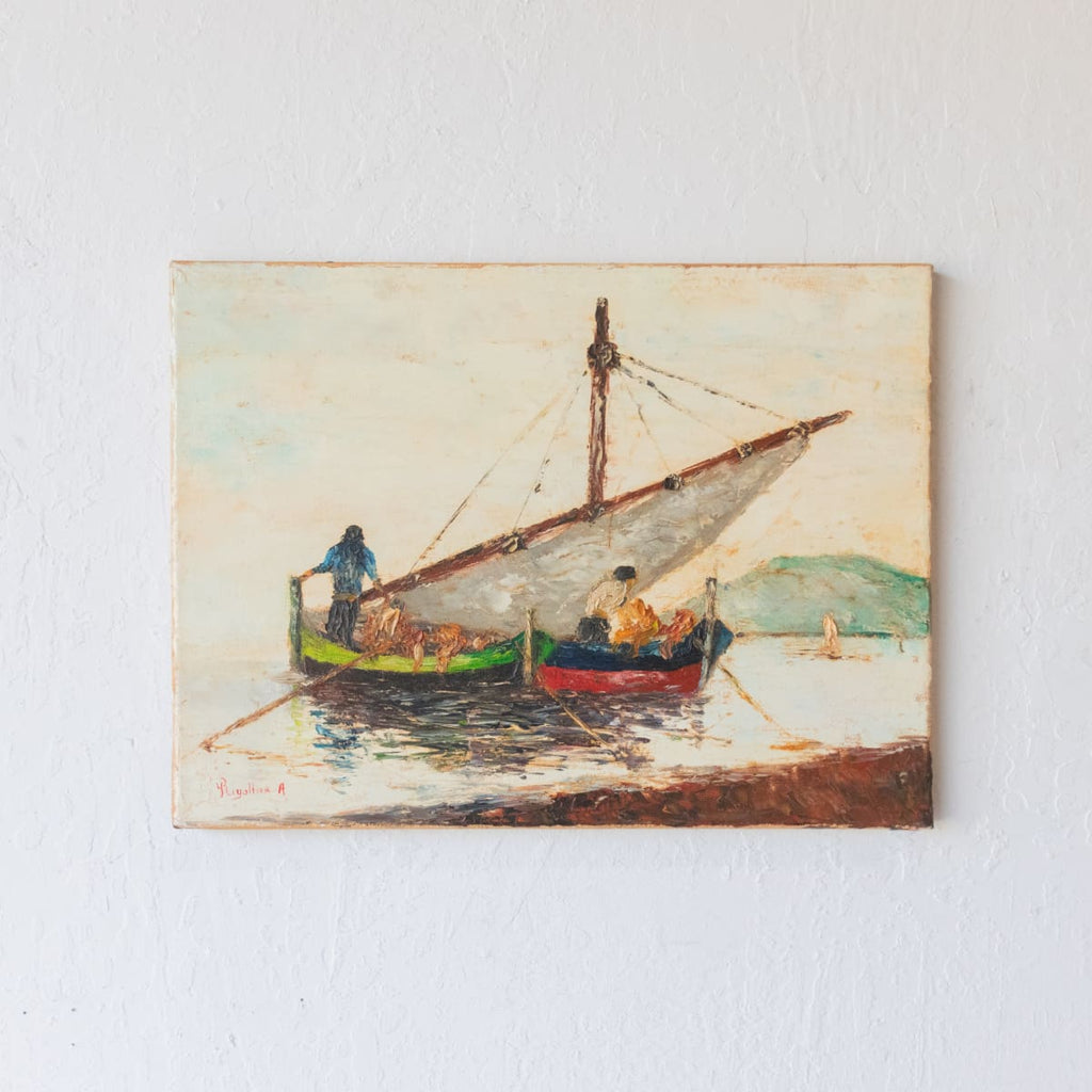 Seascape with Red and Green Boats Oil Painting - Décor