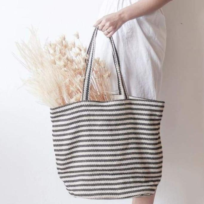 Striped Cotton Tote - decor