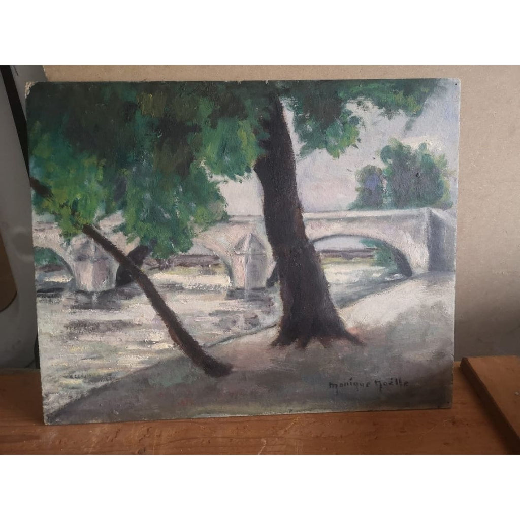 The Path Along the Seine in Paris Painting - Décor