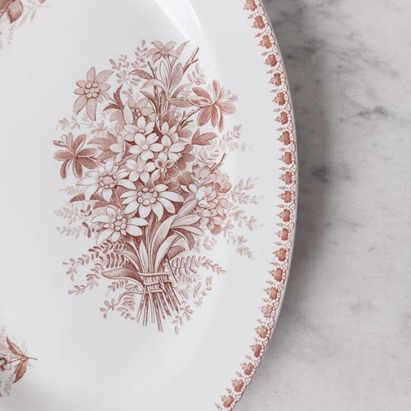 Transferware Oval Platter with Flowers - The French Kitchen