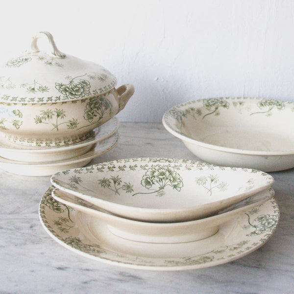 Transferware Serving Pieces with Hydrangeas - the french kitchen
