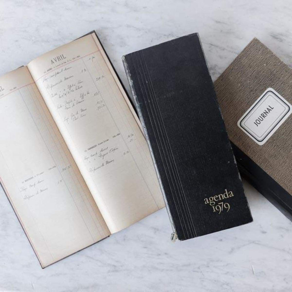 Trio of Vintage Ledgers - decor