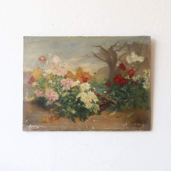 Very Large Dramatic Floral Painting - elsie green