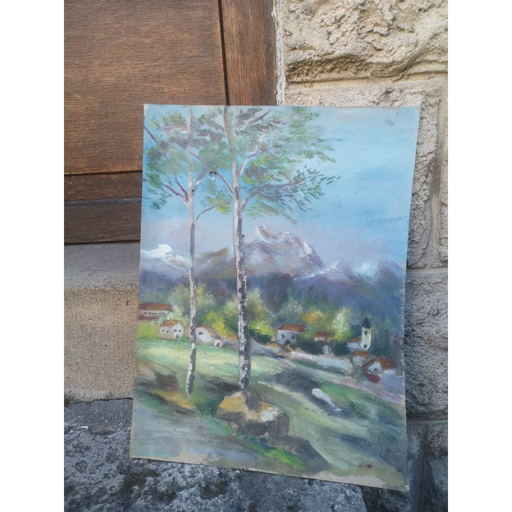 Village in the Pyrénées oil painting - Décor