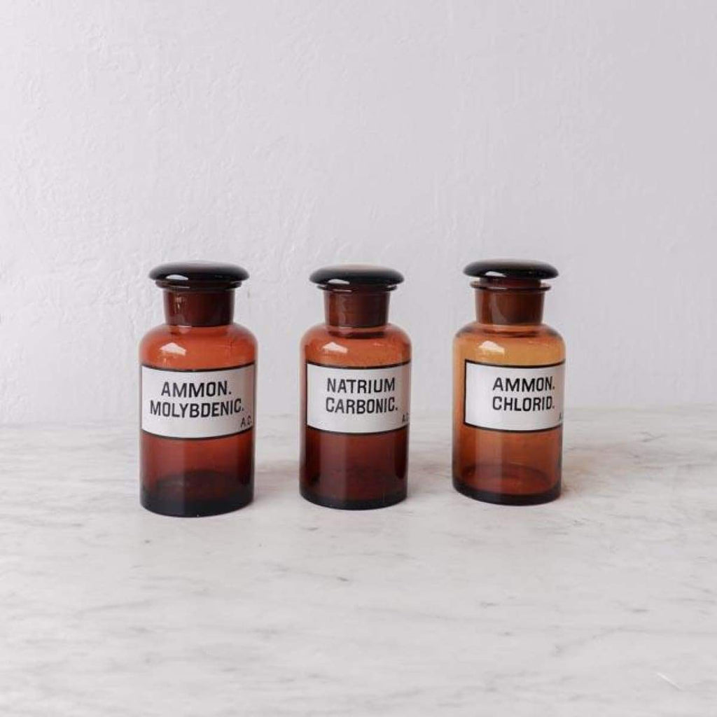 Copy of Vintage Amber Glass Pharmacy Jar set of 3 - Decor