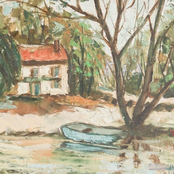 Vintage Blue Boat on the River Oil Painting - decor