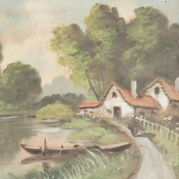 Vintage Cottages by the River Bank Oil Painting - decor