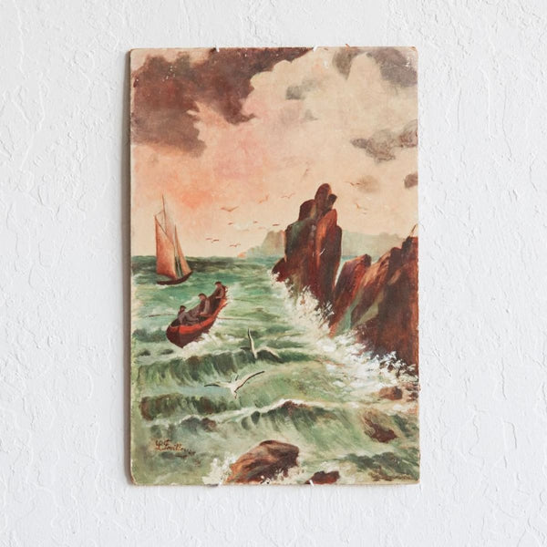 Vintage Crashing Waves Painting - Décor