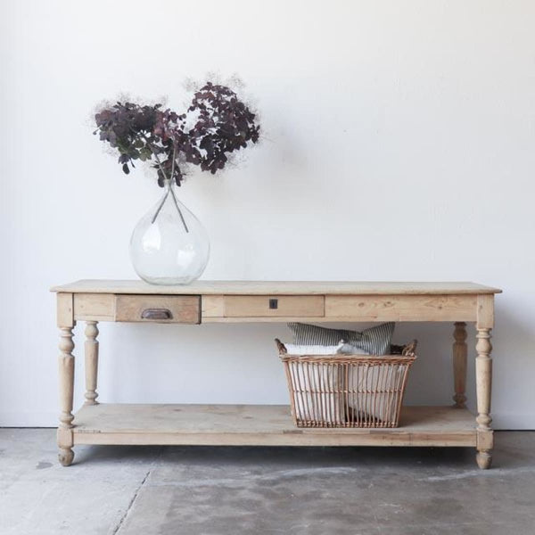 Vintage Dramatic Pine Console - Furniture