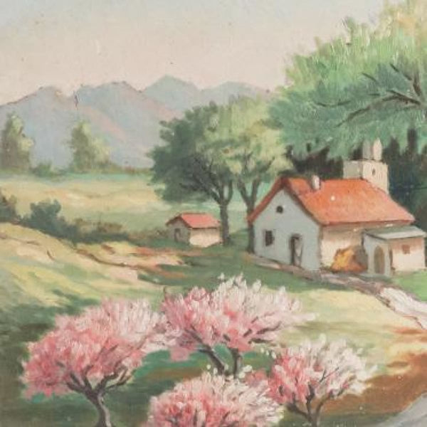 Vintage Farmhouse Under Canopy of Trees Oil Painting - decor