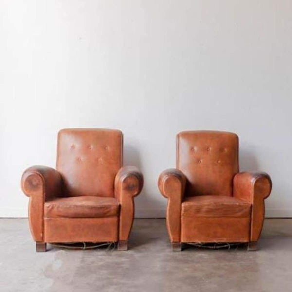 Pair of Vintage Leather Club Chairs - furniture