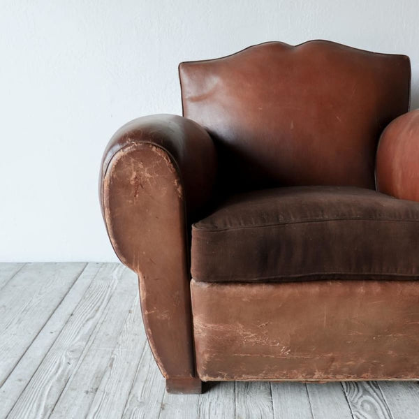 Vintage Leather Club Chair - furniture