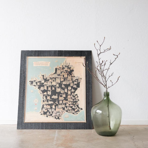 Vintage Map of Churches of France - decor