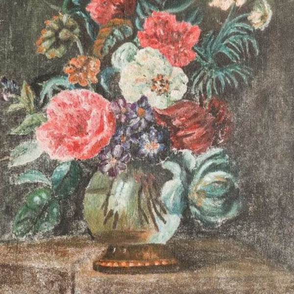 Vintage Moody Floral Still Life Oil Painting - decor