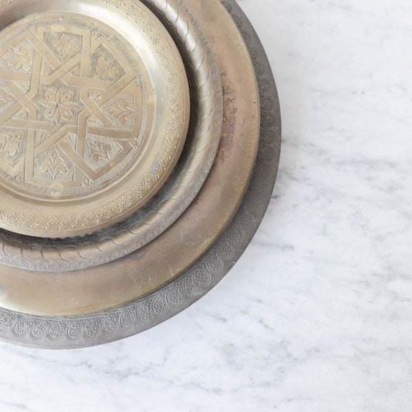 Vintage Moroccan Brass Tray - the french kitchen