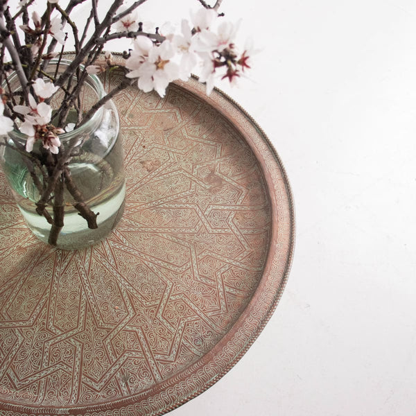 Vintage Moroccan Tray Table - furniture