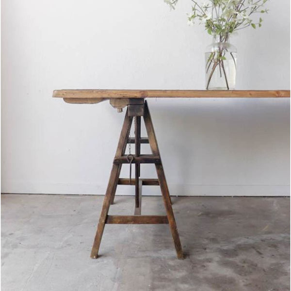 Vintage Pine Sawhorse Table - Furniture