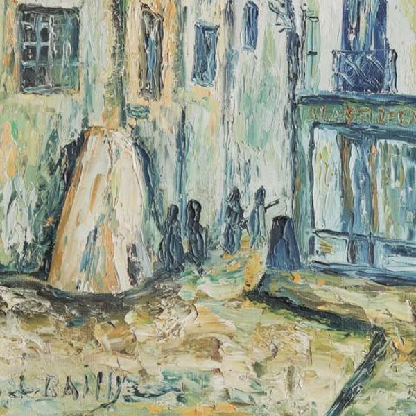 Vintage Primitive Streetside Oil Painting - decor