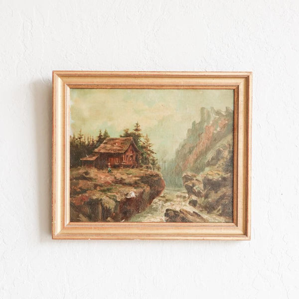 Vintage Riverside Cottage Oil Painting - decor