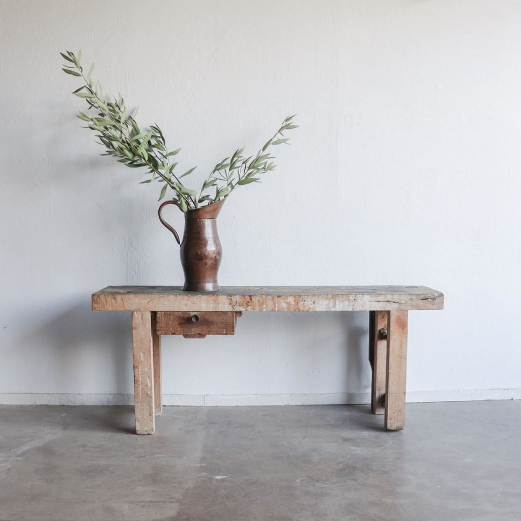 Vintage Rustic Workbench Console - furniture