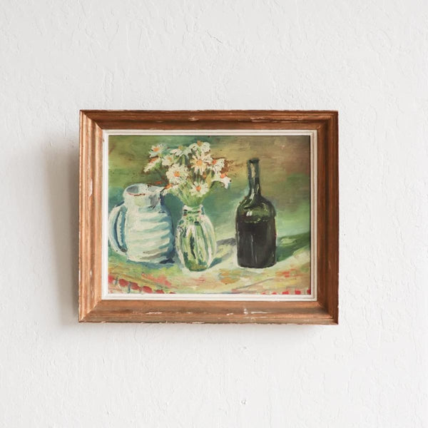 Vintage Still Life with Vessels Oil Painting - decor